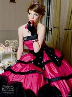 hot pink and black wedding dresses