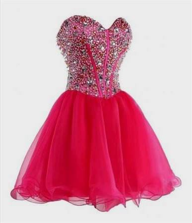 hot pink corset prom dresses