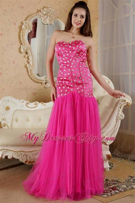 hot pink mermaid prom dresses