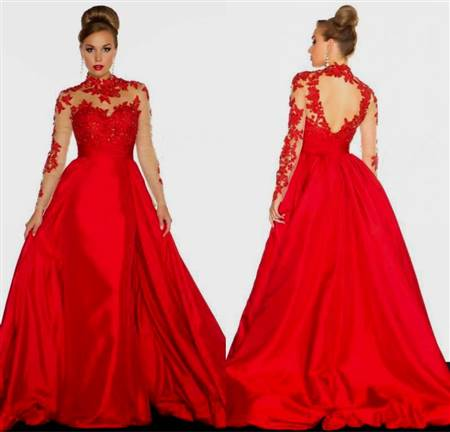 hot red ball gown
