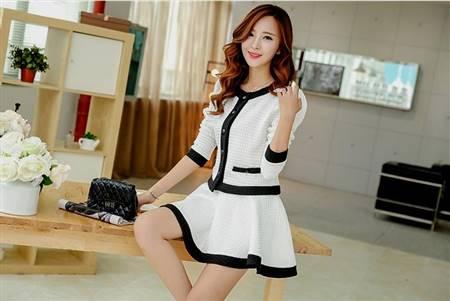 korean black and white casual dress