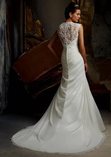 lace back fishtail wedding dress