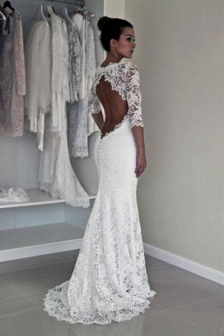 lace beach wedding dresses with sleeves