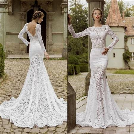 lace wedding dresses with open back and sleeves