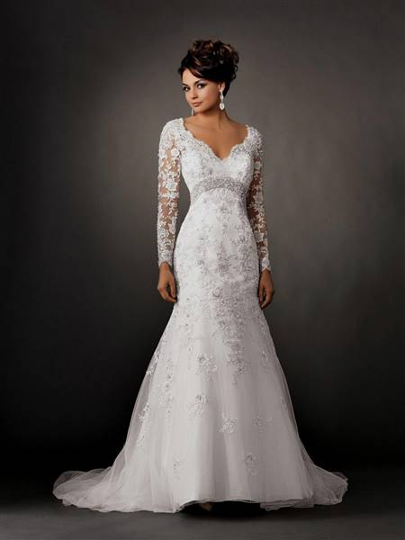 lace wedding dresses with sleeves mermaid