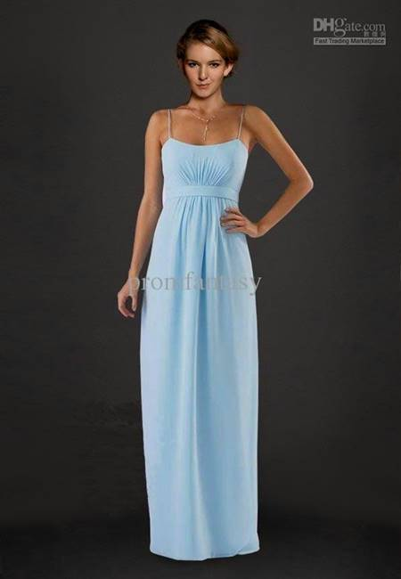 light blue bridesmaid dresses with straps