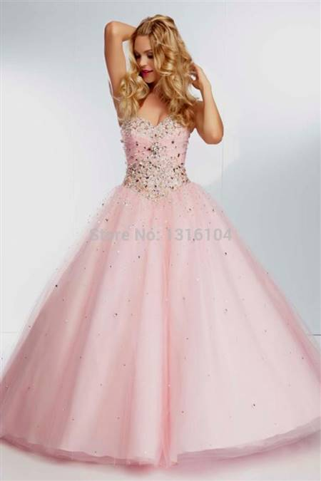 light pink ball gown prom dresses