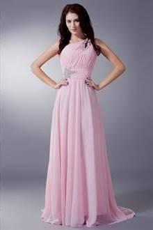 light pink one shoulder bridesmaid dresses