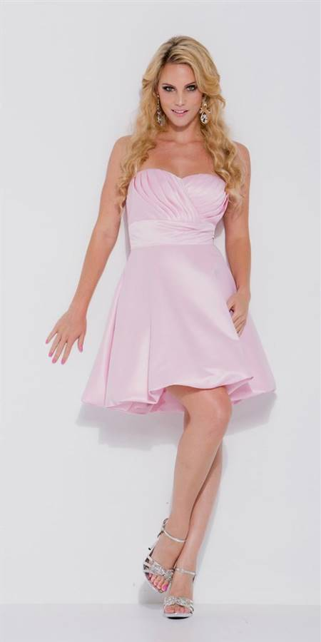 light pink one shoulder short bridesmaid dresses