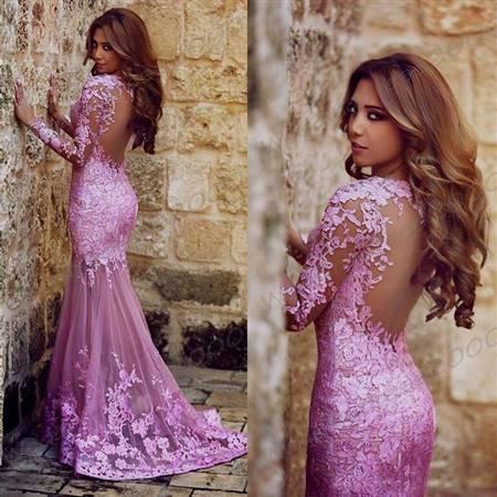 lilac prom dress lace