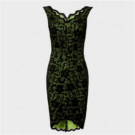 lime green and black lace dress