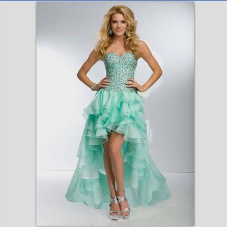 lime green prom dresses high low