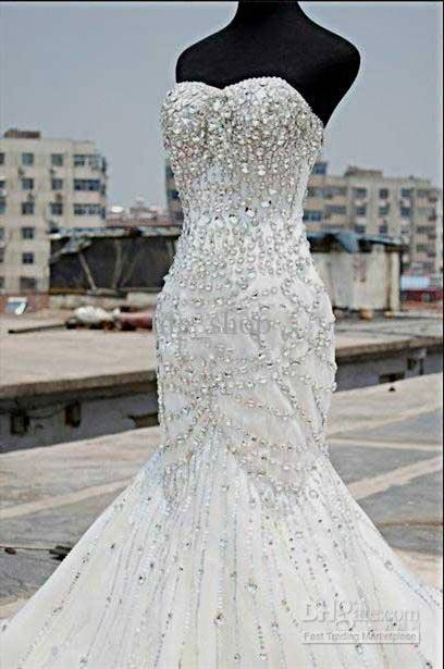 mermaid wedding dress with bling belt