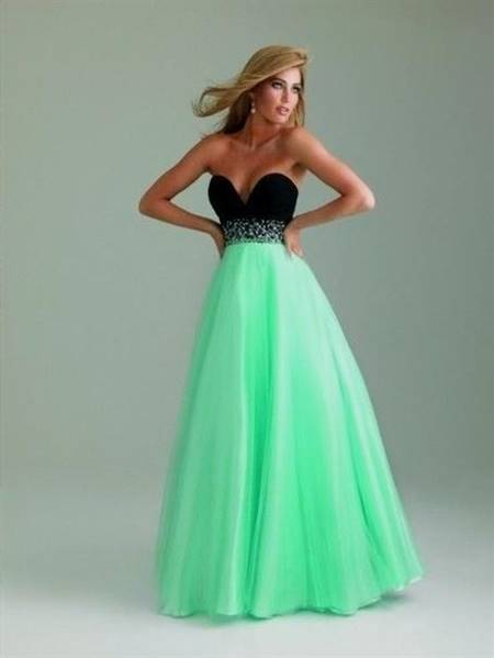 mint green and black prom dresses