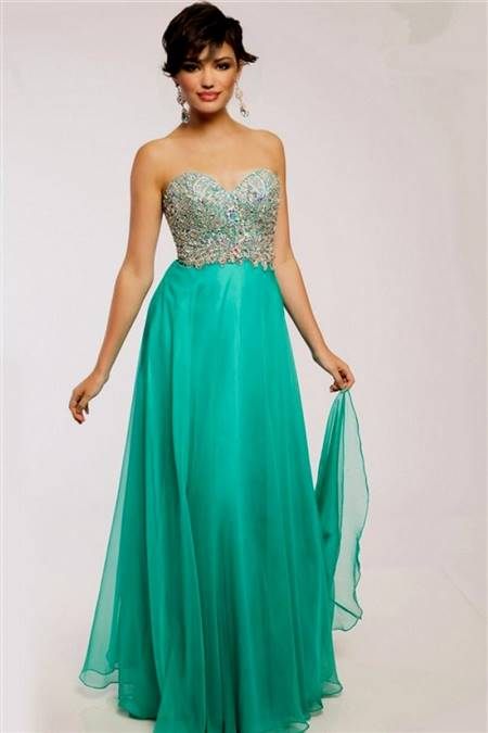 mint green prom dress strapless