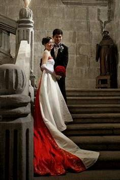 modern chinese white wedding dress