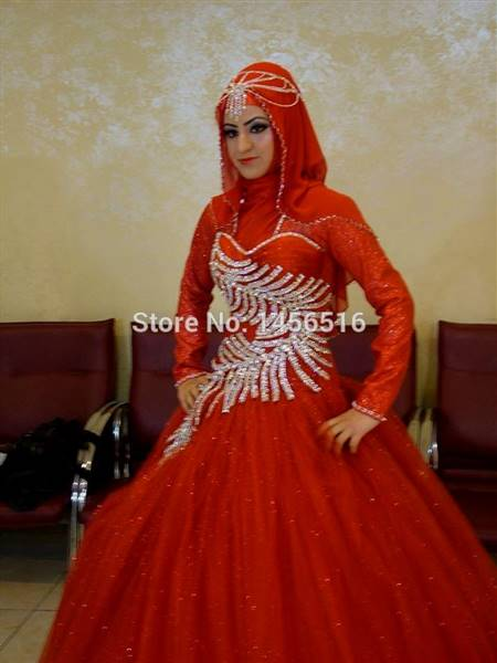 modern muslim wedding dress red