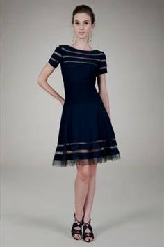 navy blue cocktail dresses with sleeves