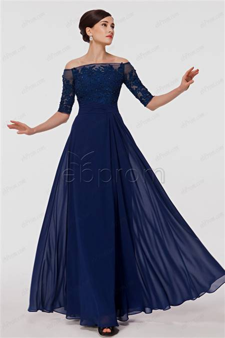 navy blue gowns with sleeves