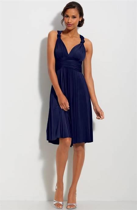 navy blue knee length bridesmaid dresses