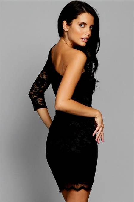 one shoulder black cocktail dresses