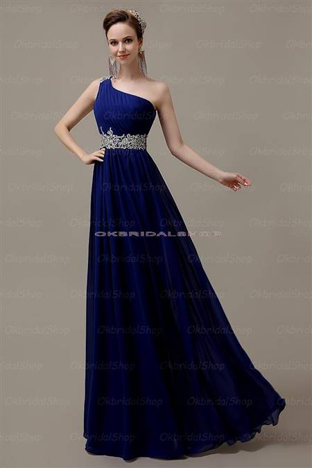 one shoulder blue prom dresses