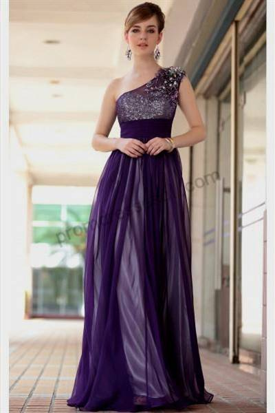 one shoulder purple prom dresses