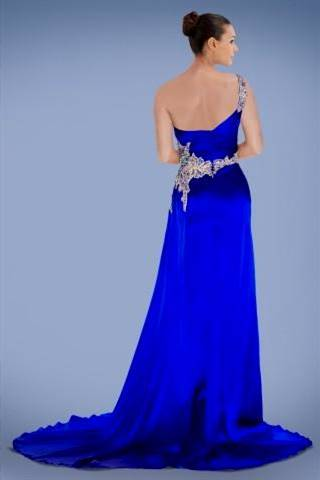 one shoulder royal blue prom dresses