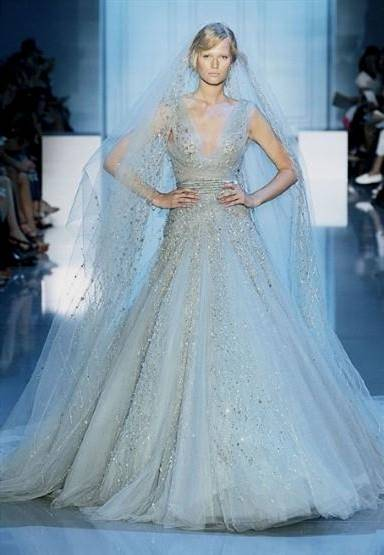 pale blue wedding gown