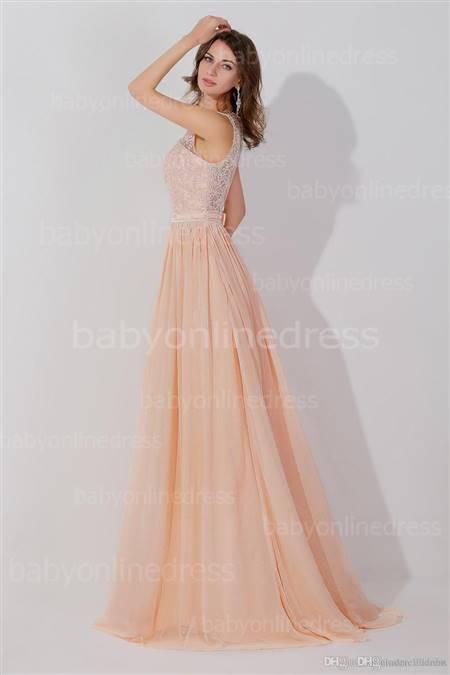 peach pink prom dress