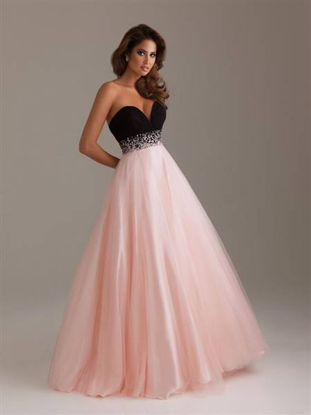 pink and black gowns for prom