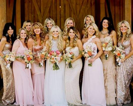 pink and gold bridesmaid dresses
