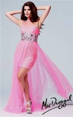 pink prom dresses high low