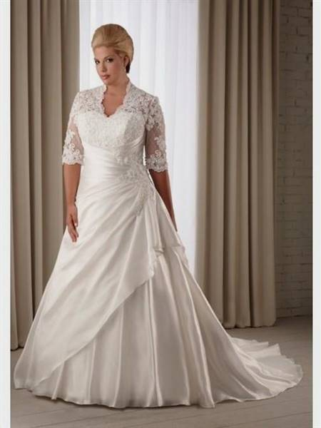 plus size a line wedding dresses with sleeves