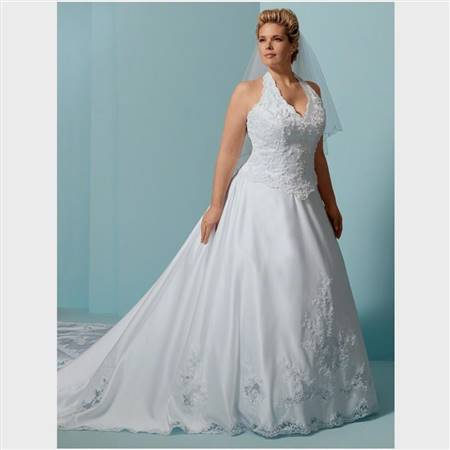 plus size halter wedding dresses with color