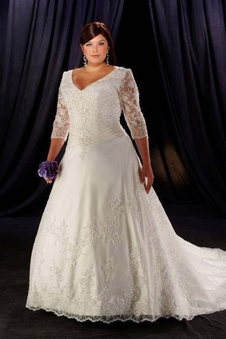 plus size wedding dresses with 3/4 sleeves