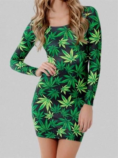 printed green casual dresses