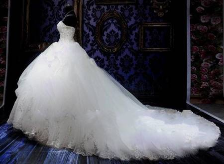 puffy white wedding dresses with diamonds