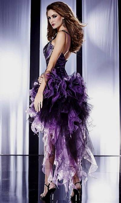 purple and black high low prom dresses