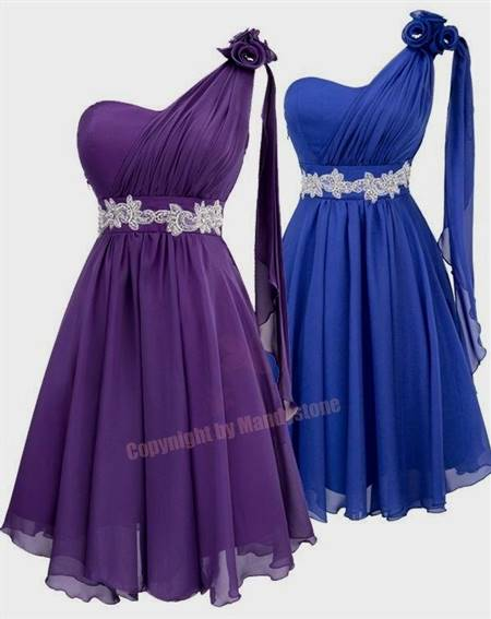 purple and blue flower girl dresses