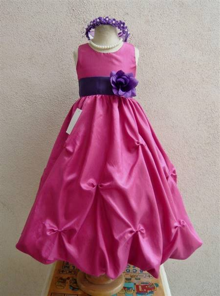 purple and pink flower girl dresses
