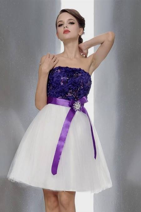 purple and white party dresses