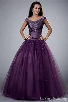 purple ball gowns with sleeves