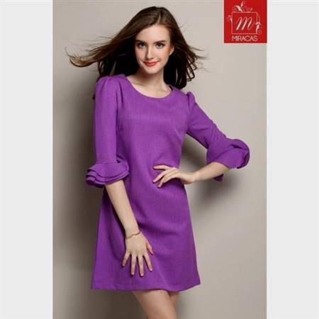 purple casual dresses with sleeves