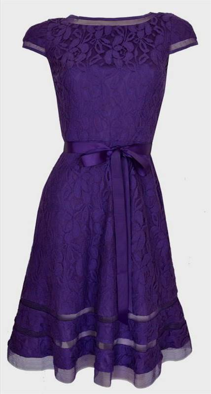 purple cocktail dress with sleeves