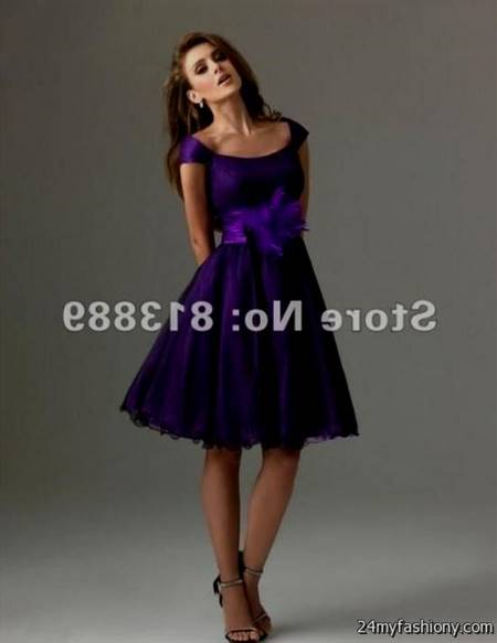 purple cocktail dresses with sleeves