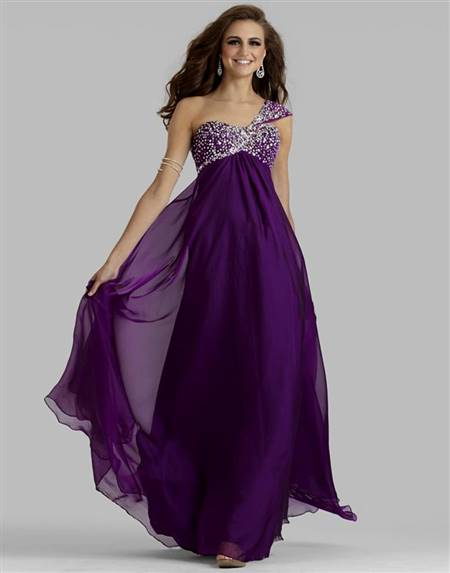 purple dresses with straps for prom