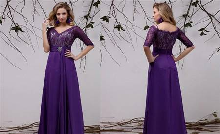 purple gown with sleeves