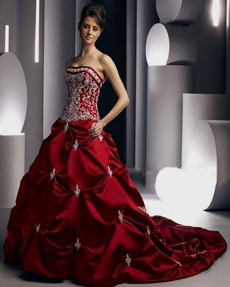 red and black corset wedding dresses