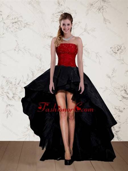 red and black high low prom dresses